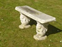 Superb Cast Stone Garden Bench with Squirrel Detail Leg Supports