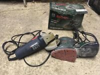 DIY tools (angle grinder and palm sander)