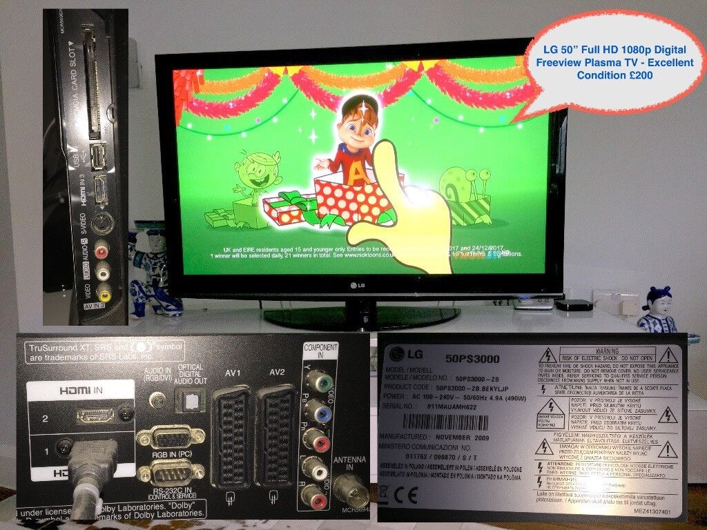 """LG 50"""" Full HD 1080p Plasma TV - Excellent Condition £200"""