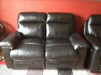Black leather recliner sofas x 2