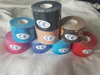 107 rolls of assorted colours kinesiology sports tape