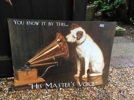 His Masters Voice Metal Sign