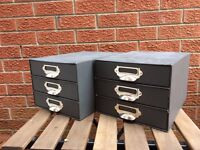 Two used 3-tray cardboard office shelf boxes