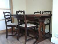 extending dining table &chairs 146cm x 90cm extends to 200cm