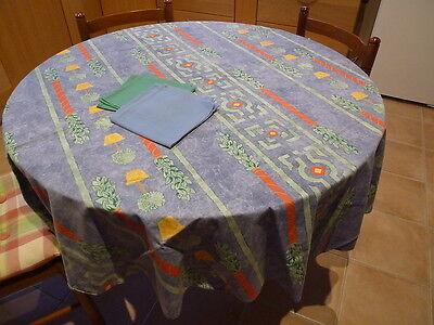 Nappe ronde de 170 cm en tissu et 4 serviettes, en TBE, Bel effet sur la table !
