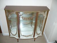 Display Cabinet, for silver/china/glassware etc., 1950's retro, mirror back, glass shelves, vgc
