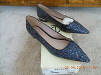Ladies Next Size 6.5 / 40 Black & Purple Shimmer Sequins Pointed Toe shoes Brand New In Box