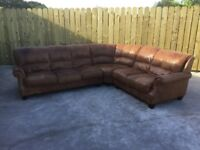 Brown Leather corner sofa and foot stool