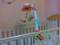 Musical cot mobile with remote