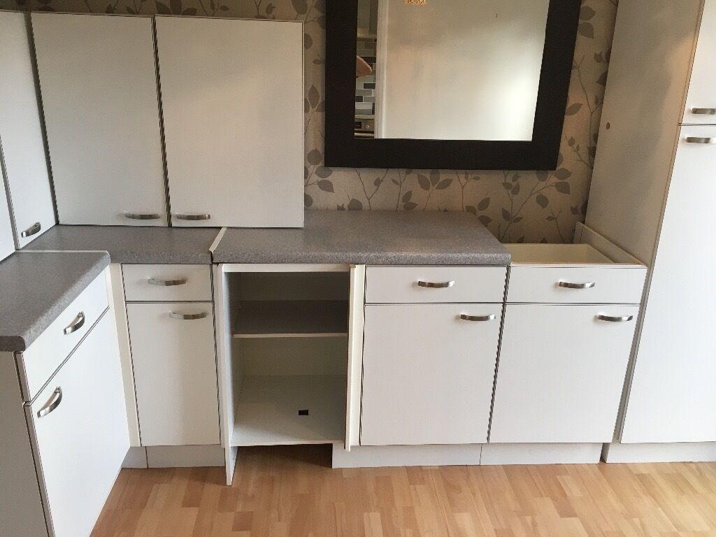 White 39 moores 39 kitchen units subtle wood grain effect for Wood effect kitchen units