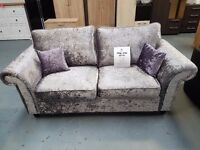 Brand New Full Back Crush Velvet 3+2 Sofa With Lilac Cushions. Free Delivery Up To 25 Miles.