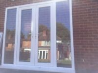 UPVC DOUBLE GLAZED FRENCH PATIO DOOR+SIDE PANELS 233.5cm W 206cm H Can deliver