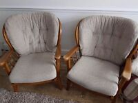 Pair of fireside chairs,very clean rewebbed solid chairs