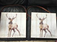 2 stag canvas pictures