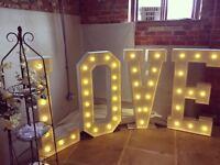 Giant Light Up Letters & Flower Heart for hire