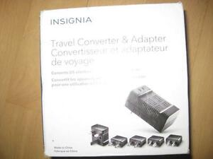 Insignia Travel Adapter / Converter with 5 Plugs to Convert Electric Power Back Home. India, Asia, America, Europe. NEW