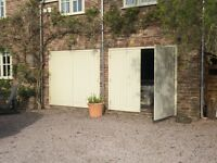 Wooden garage doors and frames for sale - 4 leaves heavy duty and secure - can be modified to fit
