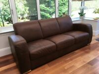 Reid Leather 3 Seater Sofa