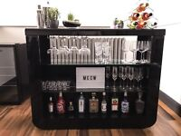 Stylish Fiesta Bar Unit In Black High Gloss With Glass Shelves