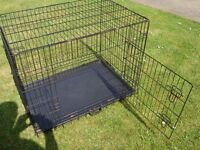 LARGE FOLDING DOG CAGE WITH 2 DOORS 36 INCH LONG 27 INCH TALL 24 INCH WIDE ONLY £20
