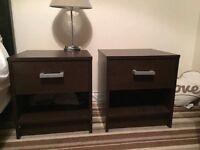 2 dark brown bedside tables