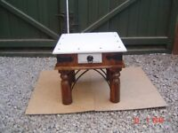 Solid Oak Timbered Side Table with One Drawer. Chalk Painted Top. Can Deliver.