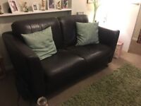 Leather sofa suite 2 seater sofa and 2 arm chairs