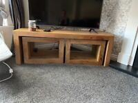 Solid Oak TV stand and Side Tables