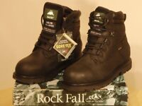 New, high-quality Rock Fall brand safety boots, size 8
