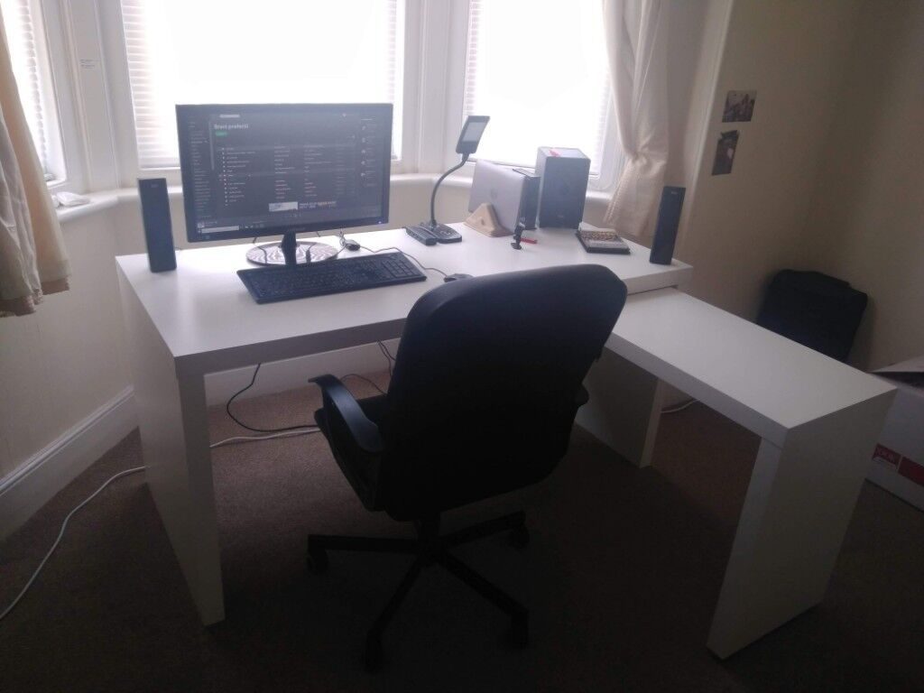 Desk ikea malm with pull out panel chair ikea torkel in