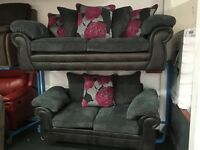 New Ex Display - dfs CORD, HALF LEATHER 3 Seater + 2 Seater Sofas