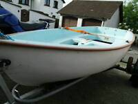 9ft fibre glass boat tender complete with launch trailer