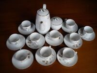 "Noritake China Teaset in ""Woodland"" Pattern comprising 9 cups and saucers, Teapot and a Sugar Bowl."