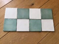 Quality ceramic kitchen/bathroom tiles in cream and green, would make gorgeous splash back.