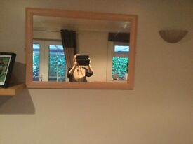 Large wall mirror oak veneer frame excellent condition