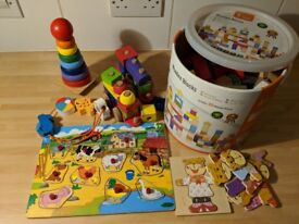 Various wooden toys for sale