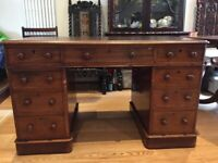 Victorian pedestal desk with leather inset top