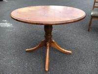 Solid Wood Handcrafted Dining Table & 4 Vintage DUCAL Velvet Covered Chairs