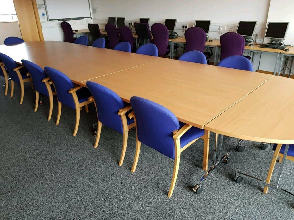 Large Boardroom Table And Chairs Can Be Used As Folding Desks - Large boardroom table