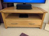 Oak Furniture Land Corner solid oak TV stand with drawer