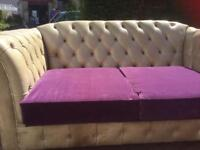 CHESTERFIELD TWO SEATER WITH DEEP PURPLE SEATS