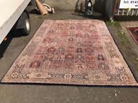 Large blue and check design floor rug. 241cm X 335cm