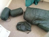 3 single sleeping bags with bags