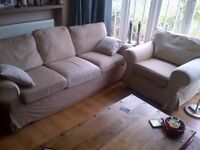 large three seater sofa with armchair and foot stool or puffee
