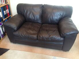 FREE. Small comfortable sofa. Brown imitation leather..