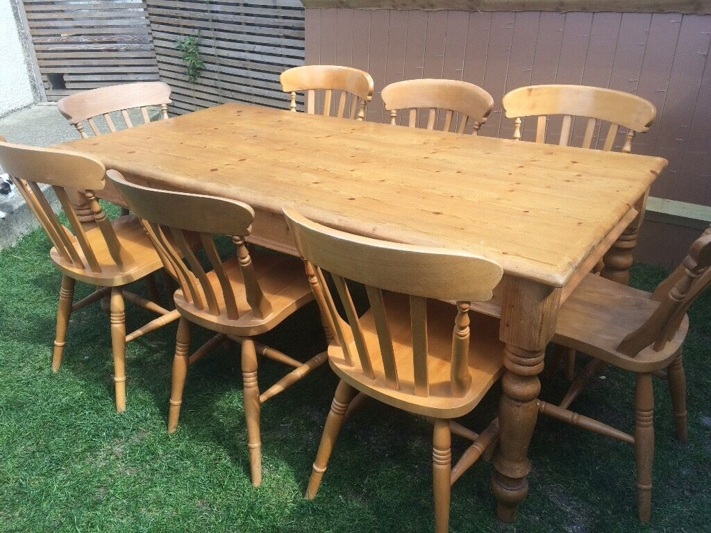 Pine Kitchen Table And Chairs Charming Farmhouse Pine Dining Table6 Ft L With 8 Chairsvgc In