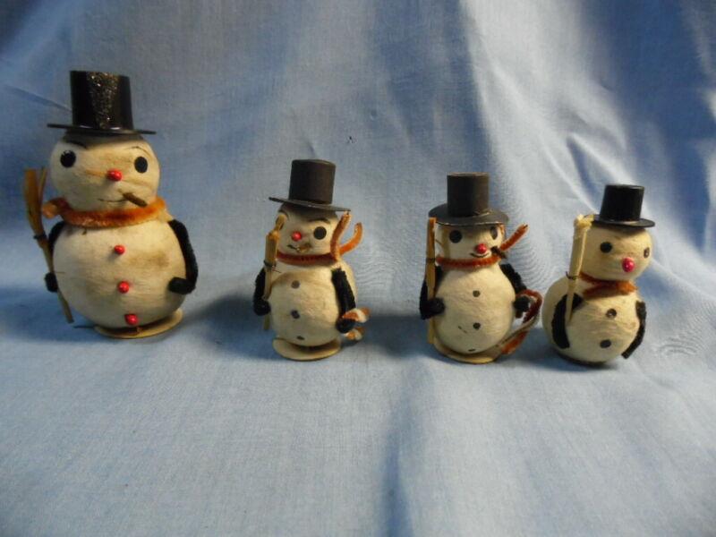 4 VINTAGE SPUN COTTON CHRISTMAS SNOWMEN with BLACK TOP HATS, STOAGIE, BROOM!