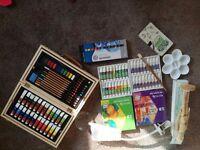Artist equipment, paint, pencils, oils, brush