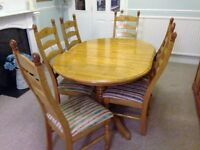 Honey Pine Dining Table & 6 Chairs