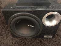 Reduced 10 inch vibe cbr subwoofer with built in amp